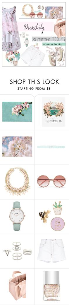 """Summer tops Summer beauty"" by moody-board ❤ liked on Polyvore featuring Pottery Barn, Kate Spade, Dolce&Gabbana, CLUSE, LC Lauren Conrad, Charlotte Russe, AGOLDE, Corto Moltedo, Nails Inc. and Betsey Johnson"