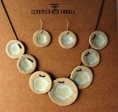 Collar y pendientes de cerámica. Paper Clay por CeramicaFonoll