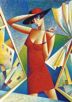 1998 At The Window, by Georgy Kurasov (b1958 Russia, St.Petersburg, Leningrad at that time)