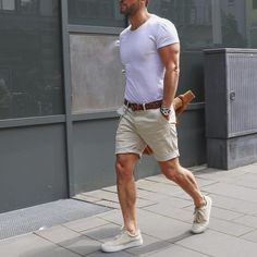 White t shirt tan short and sneakers by @kosta_williams [ http://ift.tt/1f8LY65 ]