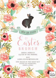 Easter invitation with watercolor bunny framed by sweet orange and pink floral flowers HOW IT WORKS •• This listing is for a fully customized, 5X7, digital print ready file, in which you can print as many invitation as needed. The file will be delivered to your email •• A 300dpi