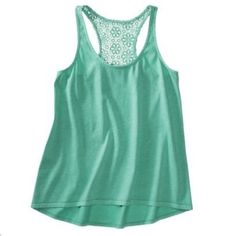 Lace Back Tank Scoop neck, lace racerback. 60% Cotton, 40% Polyester. Mossimo Supply Co. Tops Tank Tops