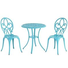 Whether dining al fresco, enjoying tea for two or doing some mother/daughter bonding, this three-piece teal bistro set provides pretty garden or yard appeal. With classic style and durable cast aluminum construction, it's designed to withstand the test of time, beautifully.