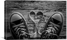 A pair of training shoes with a love heart formed from the laces. Free Ecommerce, Training Shoes, Love Heart, Canvas Prints, Wall Art, Decor, Decoration, Photo Canvas Prints, Athletic Shoes