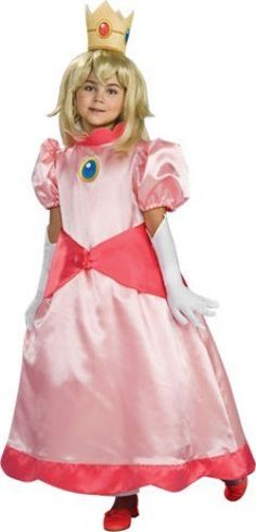 Super Mario Brothers Child's Deluxe Costume, Princess Peach Costume Rubie's Costume Co. $10.99. Hand Wash. polyester. Features Princess Peach's pink dress. Wig sold separately. Officially licensed Super Mario Brothers Costume. Crown and gloves are also included. Rubies brings fun to dress-up with costumes and accessories kids play with all year long
