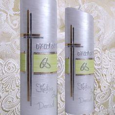 Hochzeitskerze perlmutt Ringe IH129 von ilonas-lichtermeer auf DaWanda.com