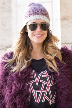 Light color frames make for good color contrast accessories to your outfit. Plum is a hit color of the fall season so try pairing a plum coat with light frames like this outfit! #stylistapproved #fashion #style #trends #eyewear