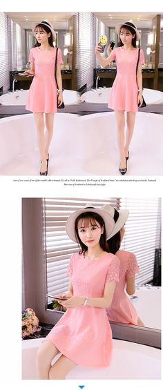 51e33248471 Women s Korean-style Lace Solid Color Dress