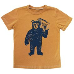 Boombox Bear Tee, Golden