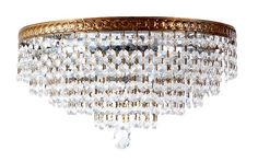 Hollywood Regency Brass and Crystal Chandelier | Crystal Ceiling Lamp - $795