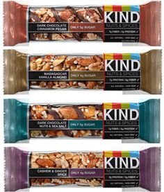 KIND Bars - So so good! High protein, low glycemic index, gluten free.  My favorite snack bar!!!!! Love these!! No really, Iooooove these bars!