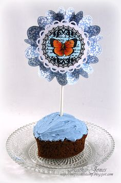 Sweet Cupcake decorative stick designed by Kathy Jones using Botanical Butterflies and Classic Scallop Borders One.