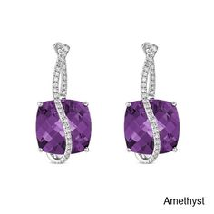 14k White Gold Gemstone and 1/3ct TDW Diamond Earrings