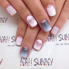 Accurate nails, Gradient nails 2016, Ideas of gentle nails, Ideas of gradient nails, Insanely beautiful nails, Moon on the nails, ring finger nails, White half moon on nails