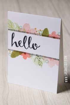 Stamps: Botanical Blooms, Hello Paper: Whisper White Ink: Archival Black, Pear Pizzazz, Old Olive, Mint Macaron, Blushing Bride, Calypso Coral, Hello Honey, Mossy Meadow