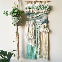 Hand woven using a variety of weaving techniques to create an exciting piece of art for your walls.A fusion of various shades of mint and neutral cream tones, in a variety of different yarns, including a chunky hand spun yarn, make this the perfect statement piece for your room.
