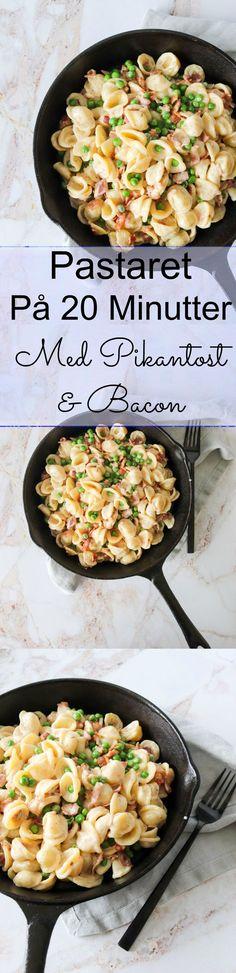 Pasta I Pikantostsauce - Pastaret Med Bacon Og Pikantost - WordPress Sitesi Snack Recipes, Snacks, Bacon, Feta, Mozzarella, Cheddar, Food And Drink, Vegetarian, Pizza