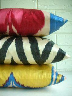Throw Pillow Decorative  Uzbek Ikat Lumbar  by habitationBoheme, $48.00