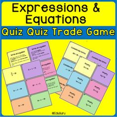 Expressions and Equations Quiz Quiz Trade Game 12th Maths, 7th Grade Math, Simplifying Expressions, Combining Like Terms, Math Tables, Cooperative Learning, Writing Practice, Task Cards, Teacher Resources