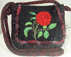 Felted purse, felted handbag, red rose art, needle felt rose, Valentine gift