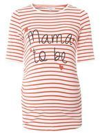 Womens **Maternity Red Striped 'Mama To Be' Motif T-Shirt- Red