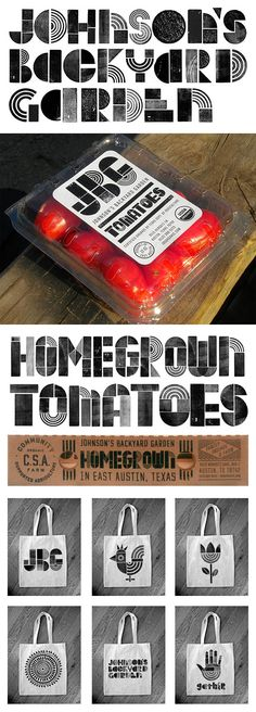 """Yummy rebrand of Johnson's #Organic Farm from Austin, Texas. Great #identity #branding for """"HomeGrown"""" PD"""