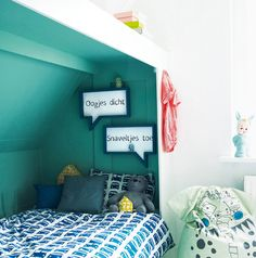 Turquoise bed cubby + blue/white car bedding