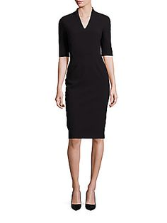 Escada Elbow-Sleeve V-Neck Sheath Dress