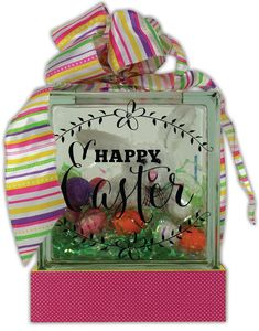 Happy Easter Glass Block Project from Crafts Direct Easter Projects, Easter Crafts, Easter Ideas, Vinyl Crafts, Vinyl Projects, Brick Crafts, Wood Crafts, Painted Glass Blocks, Glass Block Crafts