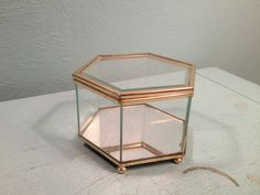 Glass Hexagon Jewelry Box  Free Shipping by andantiques on Etsy, $24.00