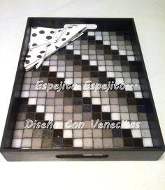 Bandeja 30 x 40 diseño claroscuro blanco y negro