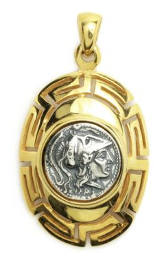 Goddess Athena Stater ~ Greek Silver & Gold Plated Coin Pendant