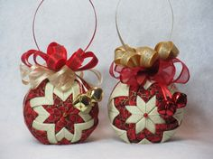 Christmas Quilted Ornaments  set of 2  no sew by KCFabricOrnaments