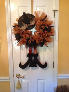 Halloween witch wreath decor