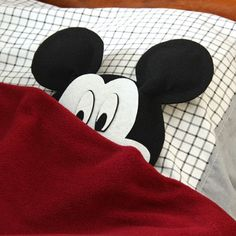 Mickey Pillow   --    Sew a bow between the ears and put on eye lashes for a Minnie.