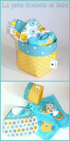 Une petite corbeille garnie, idéal comme cadeau de naissance Baby Sewing Projects, Sewing For Kids, Diy Bebe, Handmade Baby Gifts, Baby Embroidery, Baby Kit, Baby Couture, Baby Burp Cloths, Creation Couture