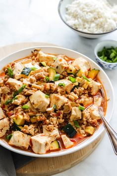 Vegan Mapo Tofu - Okonomi Kitchen Veggie Recipes, Asian Recipes, Vegetarian Recipes, Healthy Recipes, Ethnic Recipes, Tofu Dishes, Tasty Dishes, Recipe Using Zucchini, Pre Made Meals