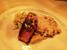 Grilled Salmon with Lemon Caper Sauce paired with Our Creamy Risotto & Crisp Seasonal Vegetables