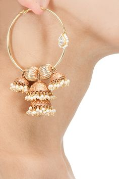 Hoop style jhumki earrings available only at Pernia's Pop-Up Shop.