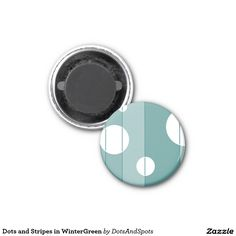 Dots and Stripes in WinterGreen 1 Inch Round Magnet