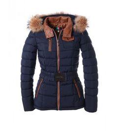 Fashion Trade Wholesale BV Uitverkoop Blauwe dames winterjas met bontkraag Milan Ferronetti | Gratis verzending