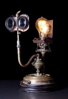 Steampunk Lamp Lens Brass Scientific Device