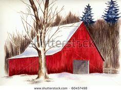 Winter Barn Scene Stock Photo 60457498 : Shutterstock