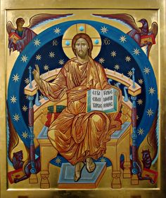 Icon of Christ Pantocrator with the images for the Four Holy Evangelists Matthew (man), Mark (lion), Luke (ox) and John (eagle). Religious Images, Religious Icons, Religious Art, Byzantine Icons, Byzantine Art, Religion, Life Of Christ, Jesus Is Lord, Orthodox Icons