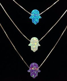 3 Colors Opal Hamsa Necklace With Sterling Silver Chain. #opal #sterlingsilver #hamsa #necklace