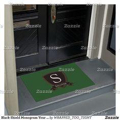 Black Shield Monogram Your Text Color Doormat