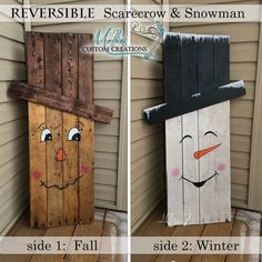 Upcycle from fall scarecrow to  winter snowman. Such a cute holiday decoration. Reuse recycle reclaimed wood! DIY easy to make!