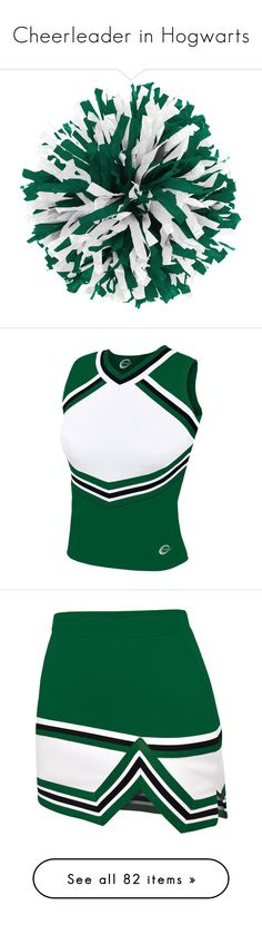 """""""Cheerleader in Hogwarts"""" by sunrise21 ❤ liked on Polyvore featuring tops, cheerleader, shell tops, chassè, skirts, cheer, saias, green skirt, green top and green tank top"""