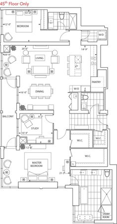 is a 3 bedroom Apartment Floor Plan at 300 Front. View images and get all size and pricing details at BuzzBuzzHome. Apartment Floor Plans, House Floor Plans, 3 Bedroom Apartment, Architecture Plan, View Image, Home Goods, The Unit, House Design, Flooring