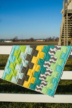 Stacks Baby Quilt... simple straight lines with a really fun look!